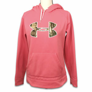 Under Armour Cold Gear coral camo logo hoodie